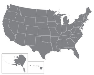 Blank map USA.  United States of America. States of USA map. High detailed gray vector map of USA  white background for your web site design, logo, app, UI. Stock vector. EPS10.