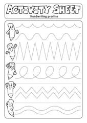 Photo sur Aluminium Enfants Activity sheet handwriting practise 2