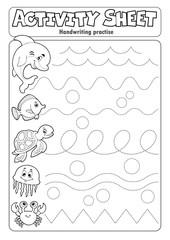 Photo sur Aluminium Enfants Activity sheet handwriting practise 3
