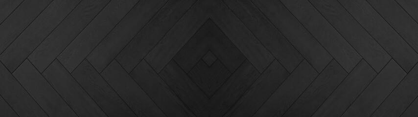 Obraz Black anthracite wooden pattern square rhombus diamond herringbone texture background banner panorama long - fototapety do salonu