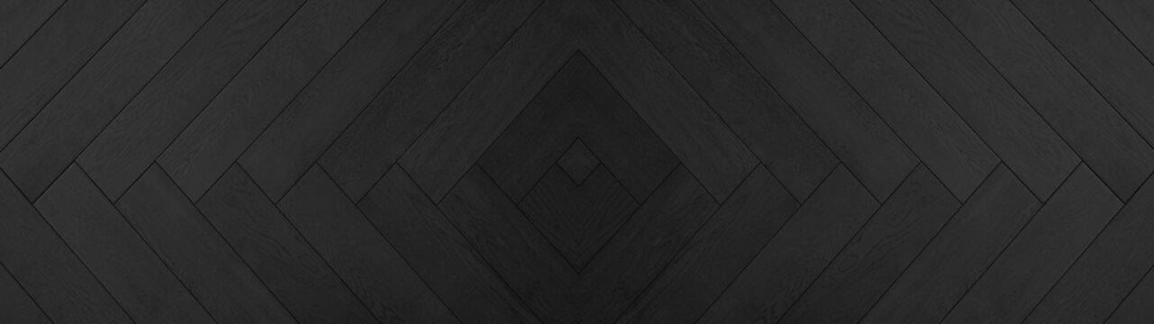 Black anthracite wooden pattern square rhombus diamond herringbone texture background banner panorama long