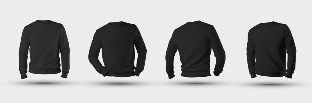 Mockup blank male sweatshirt 3D rendering, front, back, isolated on a white background.