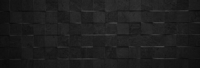 Black antharcite dark stone concrete cement texture with square cubes mosaic background panorama banner long Wall mural