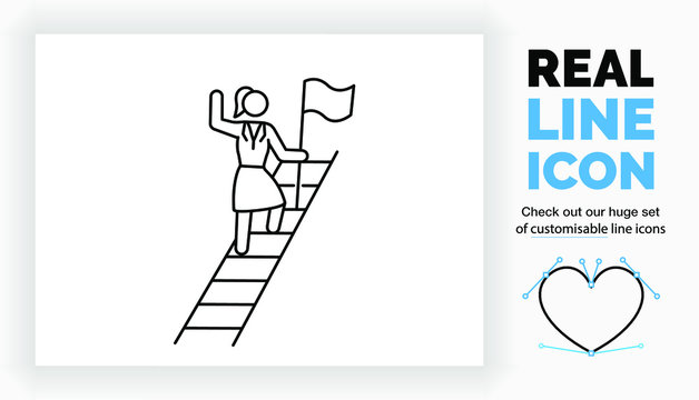 Editable real line icon of a stick figure business woman climbing the career ladder on her path to the top in full body view standing in a suit with a flag to plant in modern black lines in eps vector