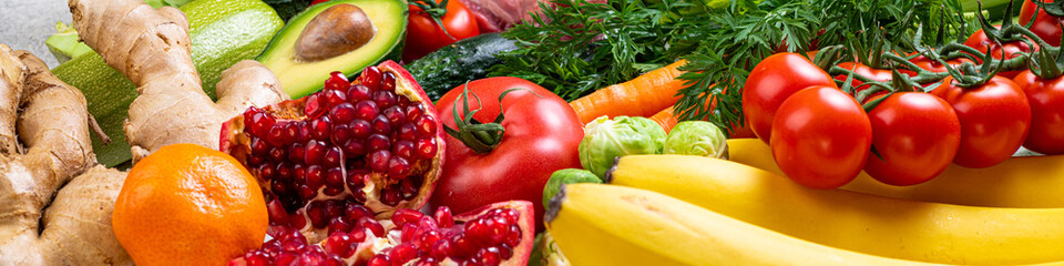 Balanced healthy food background. Selection of various mediterranean diet products for healthy nutrition. Assortment of healthy food vegetables and fruits ingredients for cooking
