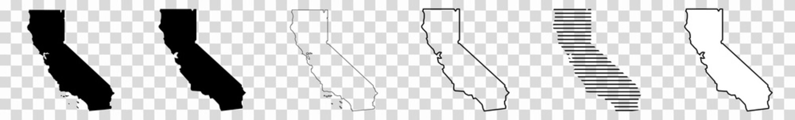 California Map Black | State Border | United States | US America | Transparent Isolated | Variations Fototapete
