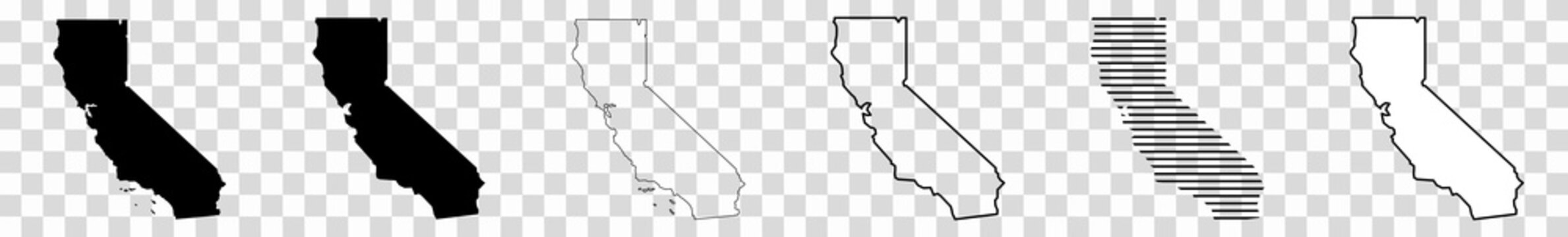 California Map Black | State Border | United States | US America | Transparent Isolated | Variations