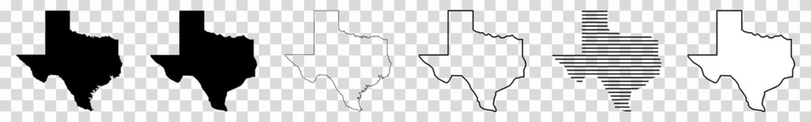 Texas Map Black | State Border | United States | US America | Transparent Isolated | Variations