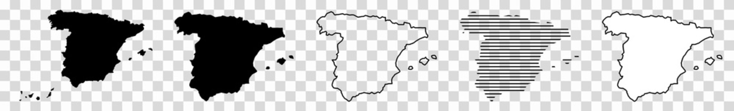 Spain Map Black | Spanish Border | State Country | Transparent Isolated | Variations