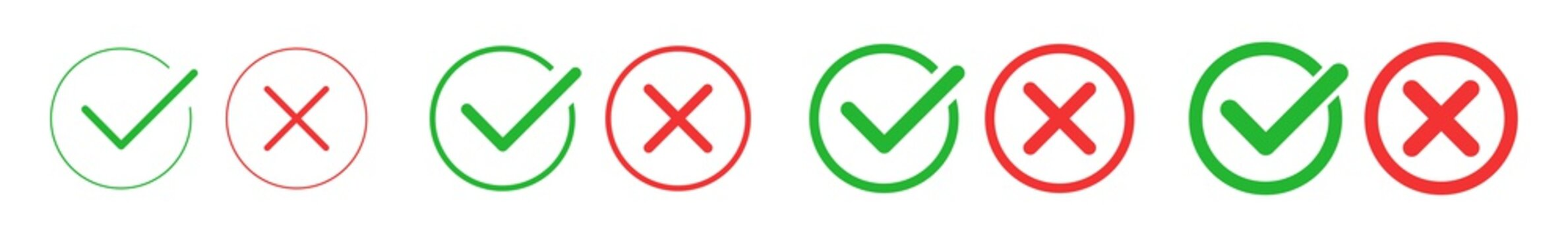 Check Mark Cross Circle Icon Green Red | Checkmark Checklist Illustration | Tick X Symbol | Voting Logo | Positive Negative Sign | Isolated | Variations