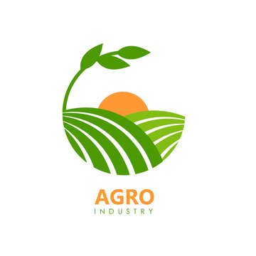 Green agro logo with fields and leaves.