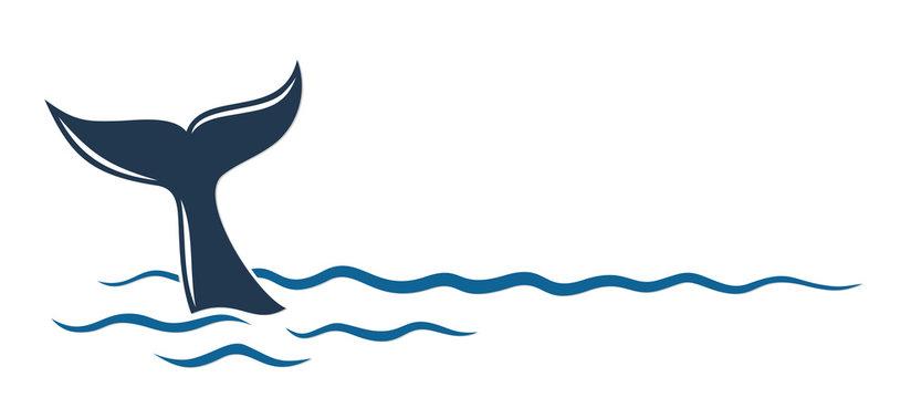 Whale symbol in the blue sea.