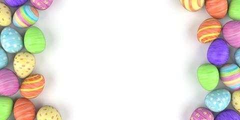 Bunte Ostereier auf einem weissen Hintergrund
