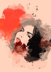 Painting beautiful woman with flower. Watercolor painted portrait for background or fashion banner