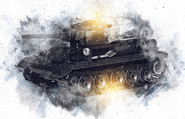 vintage the tank isolated drawing sketch art illustration Fototapete