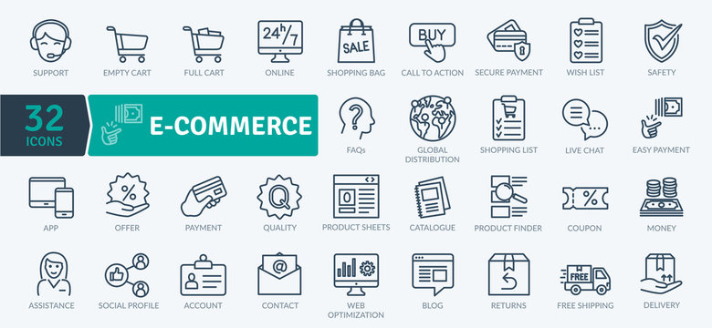 E-commerce Icon Pack. Thin Line and vector trade activities