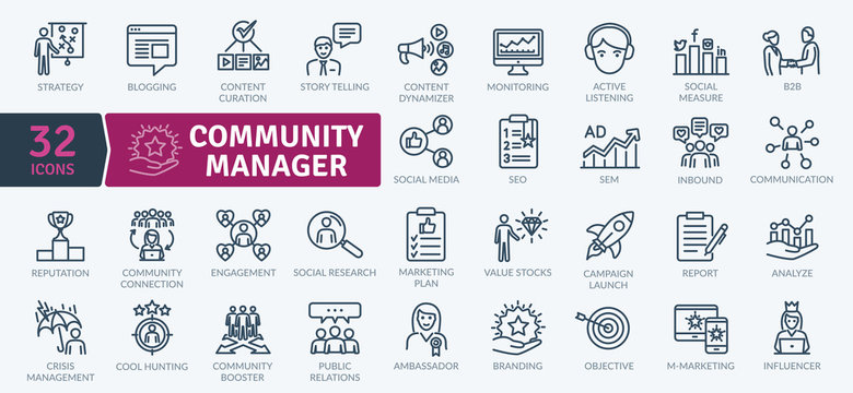 Community Manager activities. Thin line Icon Pack. Vector symbols