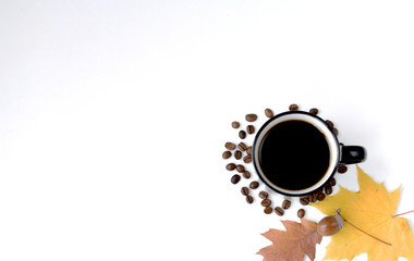 Printed roller blinds Cafe A mug of hot black coffee with steam, dry fallen maple leaves, grains and acorn during golden autumn.