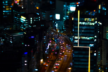 Keuken foto achterwand Buenos Aires A night miniature highway at the urban city in Tokyo high angle tiltshit