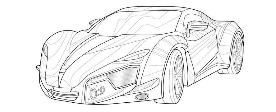 Adult coloring page for book and drawing. Concept vector illustration. High speed drive vehicle. Graphic element. Car wheel. Black contour sketch illustrate Isolated on white background.