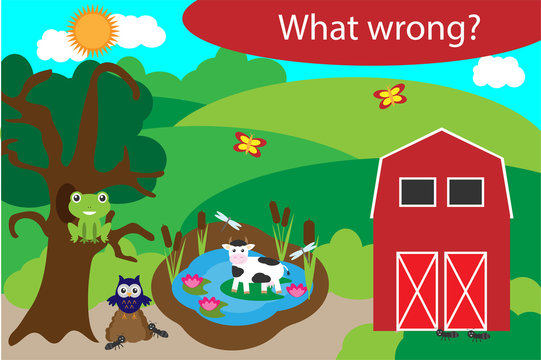 What wrong, find mistakes with animals for children, fun education game for kids, preschool worksheet activity, task for the development of logical thinking, vector illustration