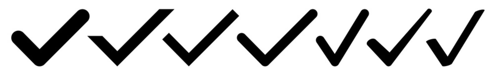 Check Mark Icon Black | Checkmark Illustration | Tick Symbol | Voting Logo | Approved Sign | Isolated | Variations Fototapete
