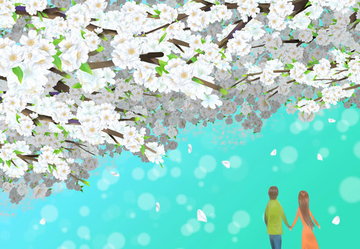 Illustration of a couple walking on a turquoise background and a cherry blossom blooming above it.