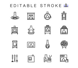 Set line icons of fireplaces and equipment for the fire inserts. Bake, oven, furnace. Furnace equipment and Christmas fireplace isolated contour illustrations. Outline symbols pack