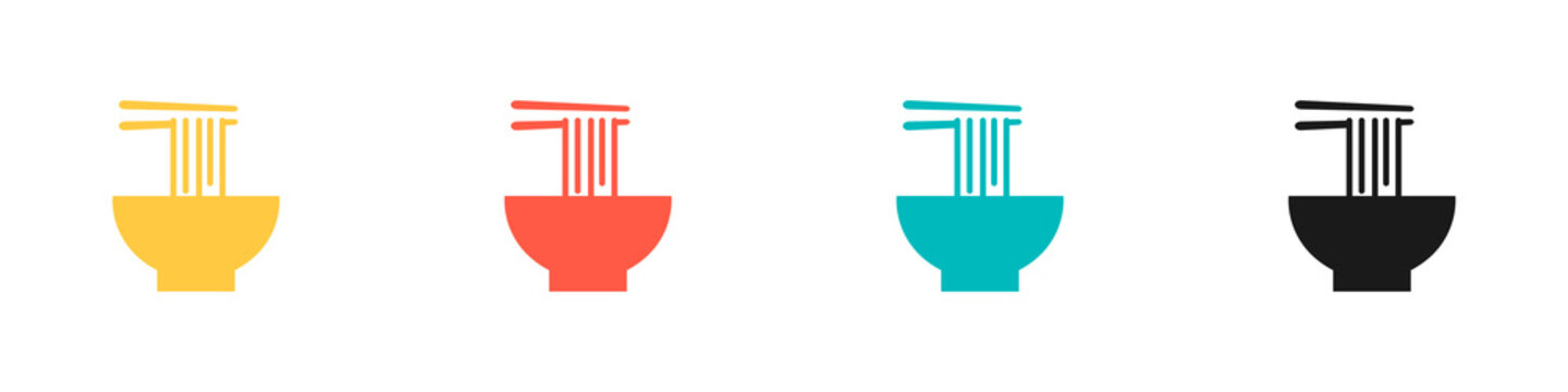 Noodle icons set. Suitable for any business related to ramen, noodles, fast food restaurants, Korean food, Japanese food, etc. Flat style. Vector illustration