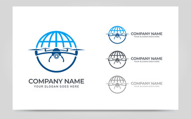 Flying Drone logo design. Editable logo design Wall mural