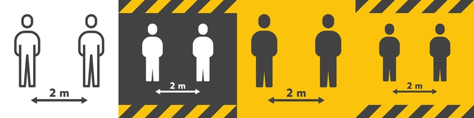 Bundle of Social Distancing Sign 2 metre (m.) or 6 Feet (ft.) To Stop Coronavirus 2019 or Covid-19 Spreading With Outline Line and Solid Glyph Icon. Modern Human People Design Vector. EPS 10.