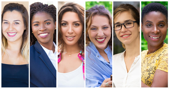 Happy multinational ladies portrait set. Smiling positive young women of different races multiple shot collage. Human emotions concept