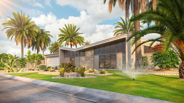 Modern house with solar panels on the roof in desert environment with palms 3d render