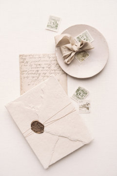 Styled flatlay with old stamps and letters