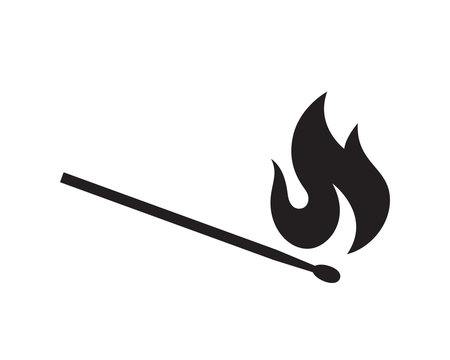 The black silhouette of a burning match is isolated on a white background. Flat vector illustration, EPS 10.