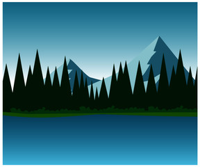 landscape with mountains and trees illustration
