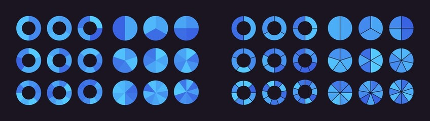 Fototapeta Collection of pie charts divided into parts or sectors obraz