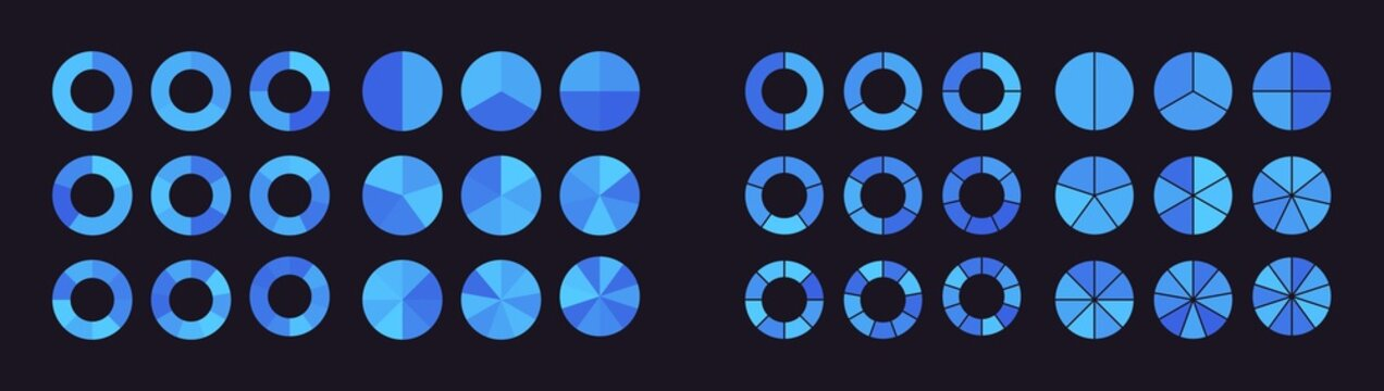 Collection of pie charts divided into parts or sectors