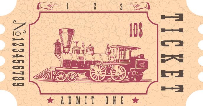 vector image of old vintage american western rail train ticket