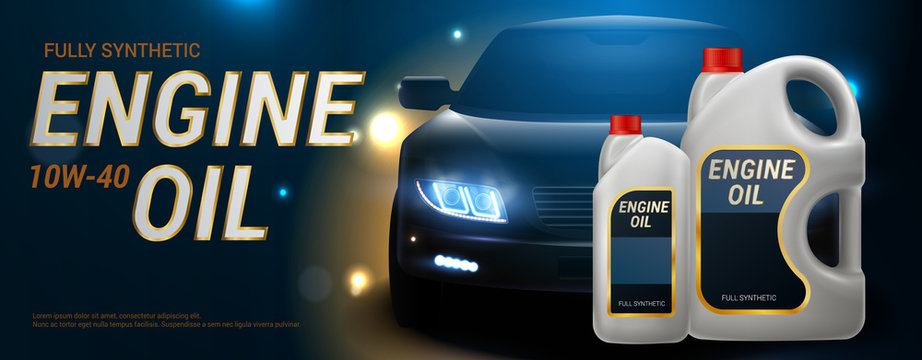 Engine Oil Advertising Realistic Banner
