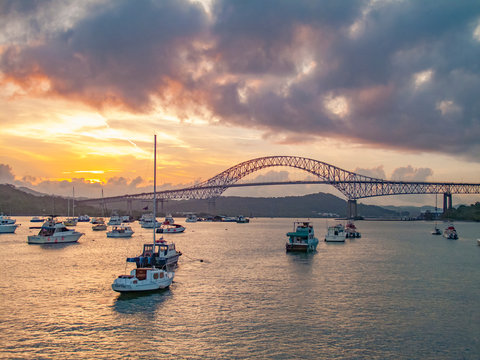 yachts anchoring under the Bridge of the Americas in Balboa at the exit of the Panama Canal Panama
