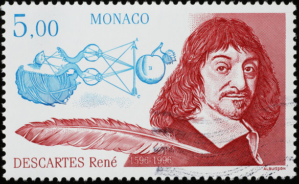 Celebration of René Descartes on french postage stamp