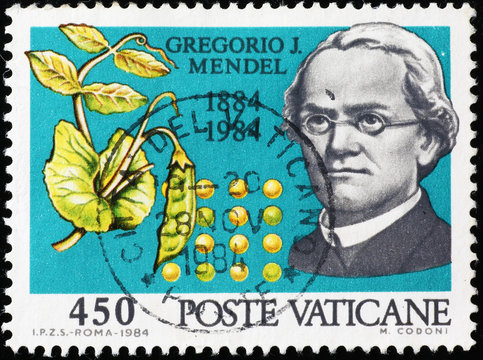 Portrait of Gregor Mendel on postage stamp
