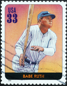Baseball legend Babe Ruth on american stamp