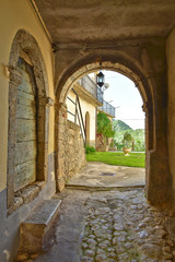 Keuken foto achterwand Oud Ziekenhuis Beelitz Castel San Vincenzo, Italy, 07/12/2018. A narrow street between the houses of a village in the Molise region