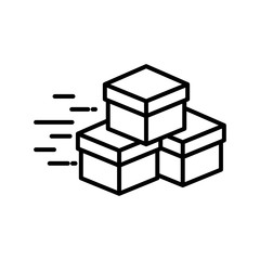 Delivery boxes line style icon vector design