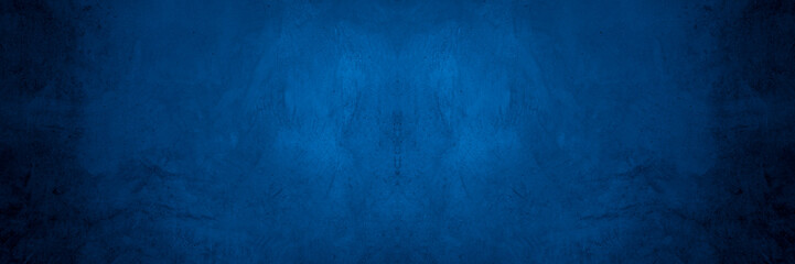 Old wall pattern texture cement blue dark abstract  blue color design are light with black gradient background. Wall mural