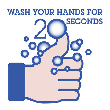 An icon that shows how long to wash your hands with a thumbs up hand.  A graphic that addresses the corona virus.