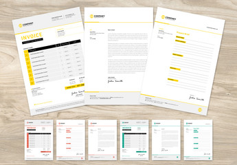 Client Invoice, Letter and Project Brief Layout with Various Color Options