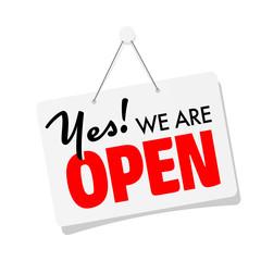 Fototapeta Yes, we're open sign obraz